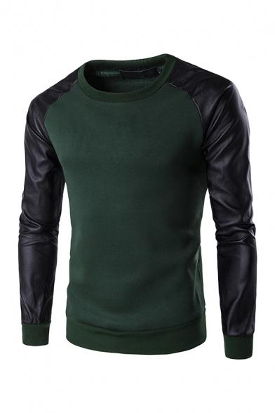 Stylish PU Splicing Raglan Sleeve Casual Pullover Sweatshirt