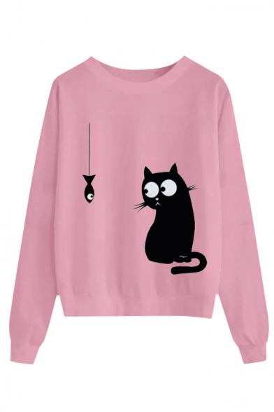 Womens Cartoon Cat Fish Pattern Long Sleeve Casual Pullover Sweatshirt