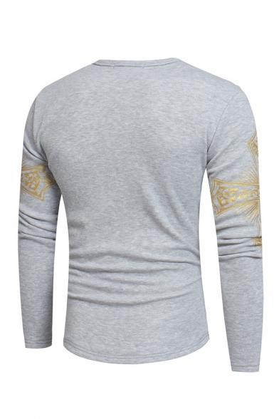 Fashion Cross Christian Printed Long Sleeve Round Neck Pullover Thick Sweatshirt