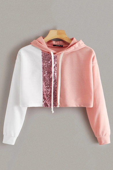 Fashionable Colorblocked Sequinned Stripe Panel Long Sleeve Crop Hoodie