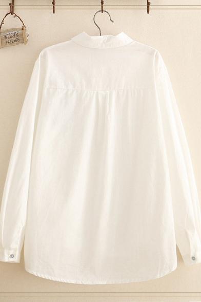 Girls Novelty Cat Single Breasted Lapel Long Sleeve Loose Shirt