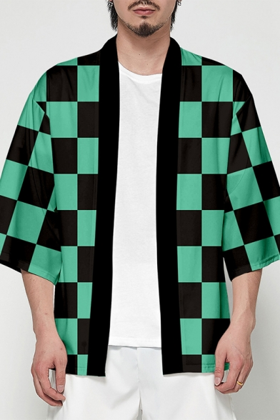 Japanese Style Check Pattern Open Front Cardigan Casual Kimono Jacket