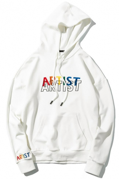 Mens Hot Popular Letter ARTIST Pattern Long Sleeve Casual Loose Fit Drawstring Pullover Hoodie