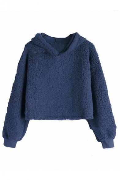 New Trendy Plain Long Sleeve Warm Fluffy Fleece Crop Hoodie, LM564631, Black;royal blue;white;gray;army green;coffee
