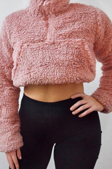 Basic Plain Half-Zip Stand Up Collar Long Sleeve Cropped Teddy Sweatshirt
