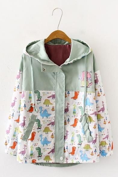 Casual Color Block Cartoon Dinosaur Graffiti Pattern Long Sleeve Zipper Jacket