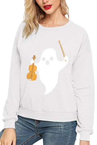 Cute Ghost Violin Printed Round Neck Long Sleeve Solid Color Pullover Sweatshirt