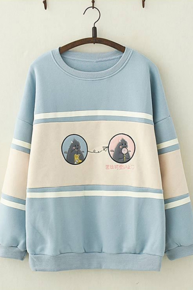Fall Popular Stripe Drop Sleeve Cartoon Pattern Print Oversized Pullover Sweatshirt