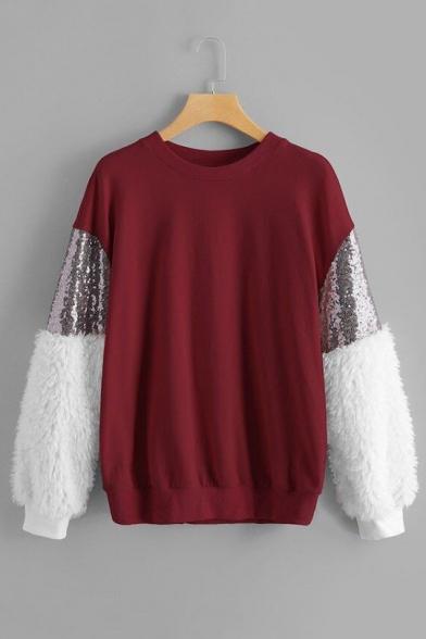 Femmes De Mode De Couleur En Peluche De Paillettes Panneau De Long Sleeve Pullover Sweat-Shirt Loose