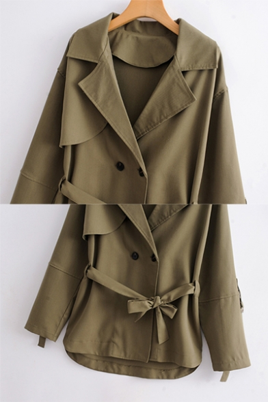 Womens Leisure Notched Lapel Tied Waist High Low Hem Army Green Dust Coat