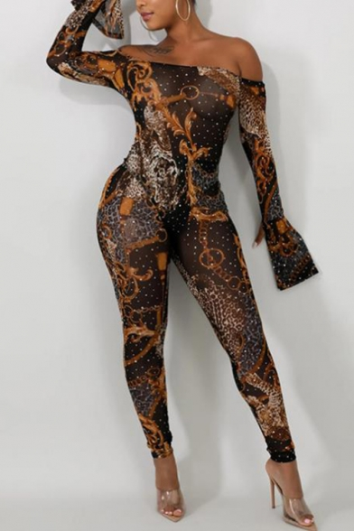 Womens Sexy Leopard Print Bardot Neck Long Sleeve Slim Fit Jumpsuit