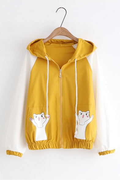 Color Block Long Sleeve Cat Pattern Pocket Zip Up Causal Jacket