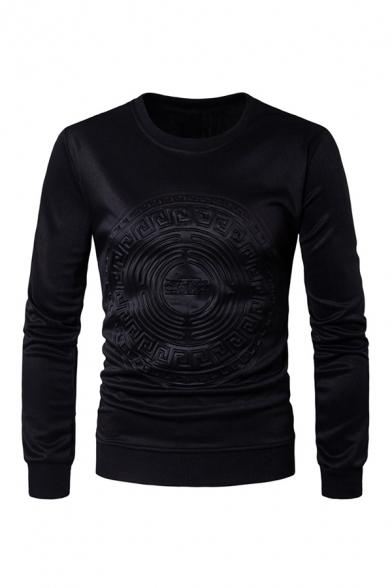 Exclusive Embossed Logo Printed Long Sleeve Plain Pullover Sweatshirt