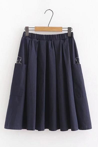 Girls Casual Bear Embroidery Elastic Waist Midi Plain A-Line Skirt with Dual Pocket