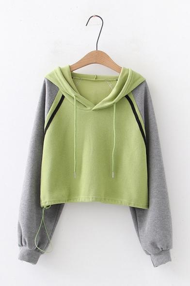 Ladies Simple Colorblocked Panel Drawstring Hood Long Sleeve Crop Hoodie, LC565509, Green;white