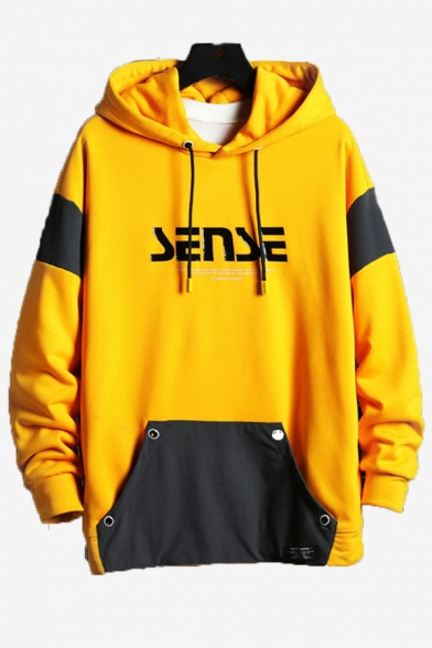 Mens New Stylish Colorblock Letter SENSE Pattern Long Sleeve Casual Loose Fit Hoodie with Pocket