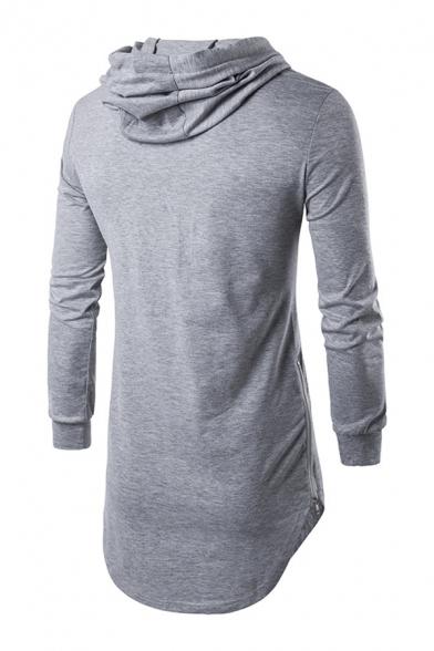 Mens Simple Long-sleeved Curved Hem Side Zipper Longline Drawstring Pullover Hoodie