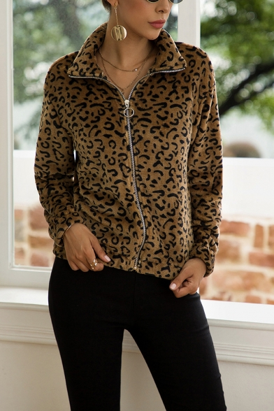 New Fashion Leopard Pattern Long Sleeve Teddy Zip Up Sweatshirt