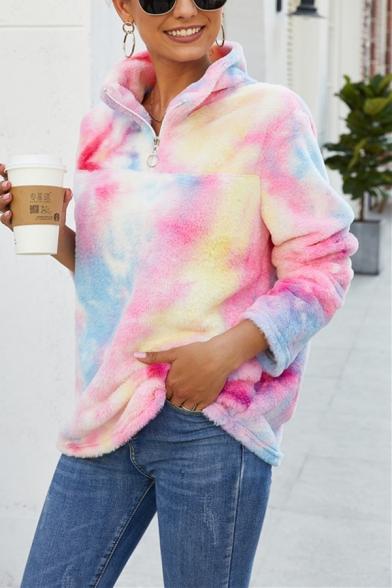New Stylish Half-Zip Stand Up Collar Colorful Long Sleeve Warm Fluffy Teddy Leisure Sweatshirt, LM564532, Pink;purple;light pink