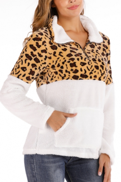 New Trendy Leopard Print Half-Zip Stand Collar Long Sleeve Color Block Fluffy Teddy Pullover Sweatshirt With Pocket