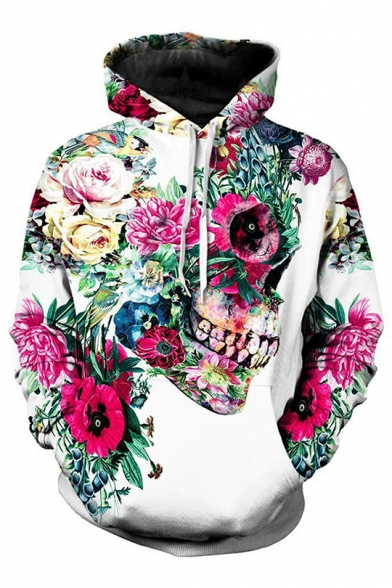 Floral Skull 3D Print Long Sleeve White Hoodie with One Pocket