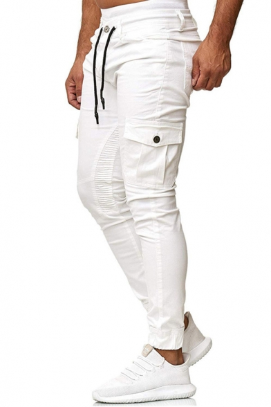 Men's Casual Sportswear Joint Lashing Belts Contrast Trim Fitted Woven Track Pants