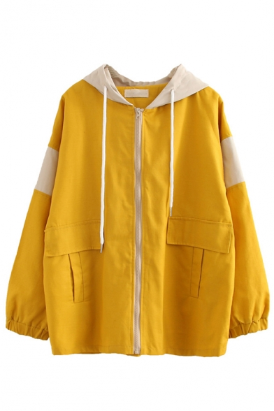 Simple Letter Printed Back Elasticated Cuff Zipper Colorblocked Hooded Utility Jacket, LC565517, Yellow;army green