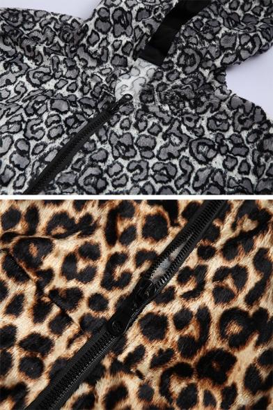Slimming Leopard Print Long Sleeve Zip Up Pullover Hoodie