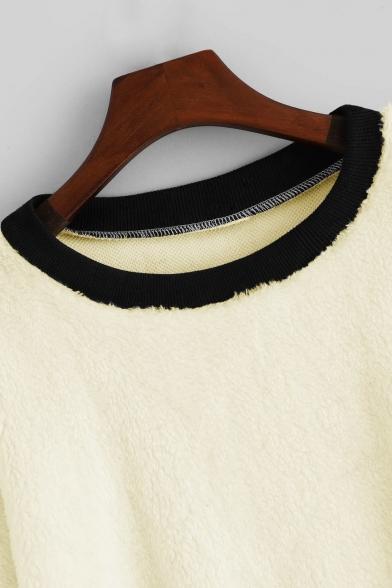 Stylish Round Neck Leopard Pattern Long Sleeves Loose Leisure Apricot Sweatshirt