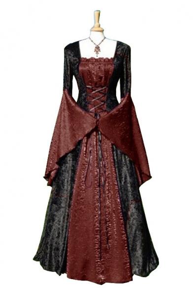 Femmes De La Mode Médiévale Vintage Col Carré Bell Manches Lacets Devant Le Bloc De Couleur Patchwork, Maxi-Robe De Swing