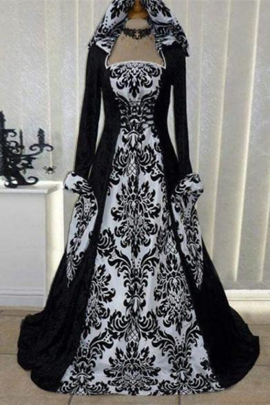 Renaissance Gothic Vintage Floral Print Gathered Waist Halloween Costume Dress