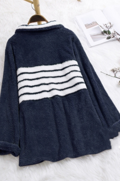 Winter Warm Striped Print Long Sleeve Pocket Faux Fur Teddy Half-Zip Hoodie