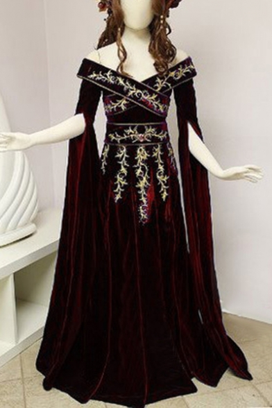 Women's Retro Velvet Dress Embroidered Golden Swirls On Plum Velvet Wrap Across The Chest V-Neck Off the Shoulder Long Sleeves Court Gowns
