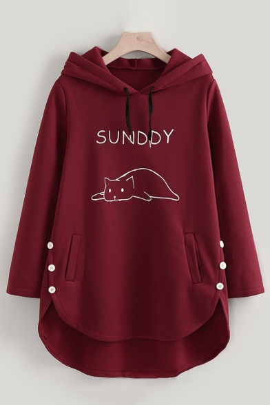 Burgundy Loose SUNDDY Cat Printed Button Embellished Side Longline Hoodie with Pocket