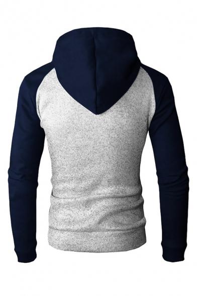 Mens Color Block Raglan Long Sleeve Zip Up Drawstring Hoodie