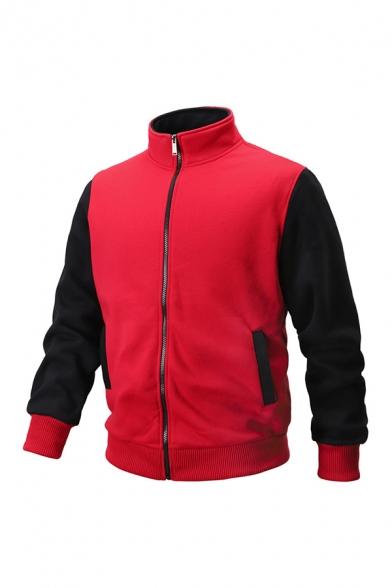 Mens Contrast Long Sleeve Stand Up Collar Zipper Sport Sweatshirt