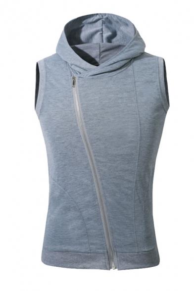 Plain Sleeveless Oblique Zip-Up Sport Fitness Hoodie Vest