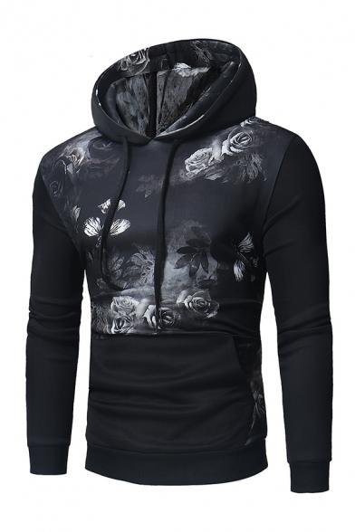Retro Floral Print Black Long Sleeve Drawstring Hoodie with Pocket