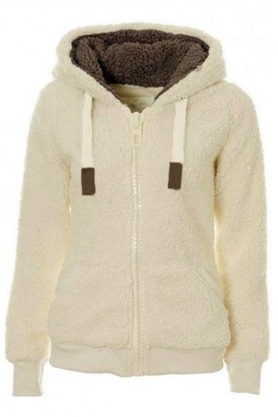 Basic Plain Zipper Long Sleeve Warm Fluffy Fleece Hoodie