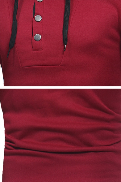 Color Block Button Fly Front Long Sleeve Pullover Drawstring Hoodie with Pocket