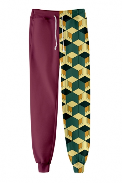 Fashion Contrast Geometric Print Drawstring Waist Jogger Pants Casual Trousers