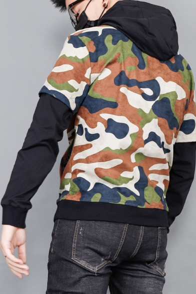 Men's Unique Creative Letter PARACHUTE Camouflage Print Fake Two-Piece Long Sleeve Casual Hoodie