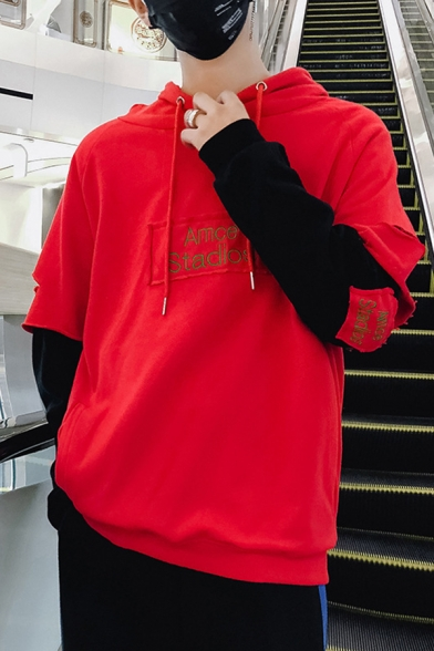 Mens Hot Fashion AMCE STADIOS Letter Embroidered Ripped Detail Long Sleeve Fake Two-Piece Casual Sports Hoodie