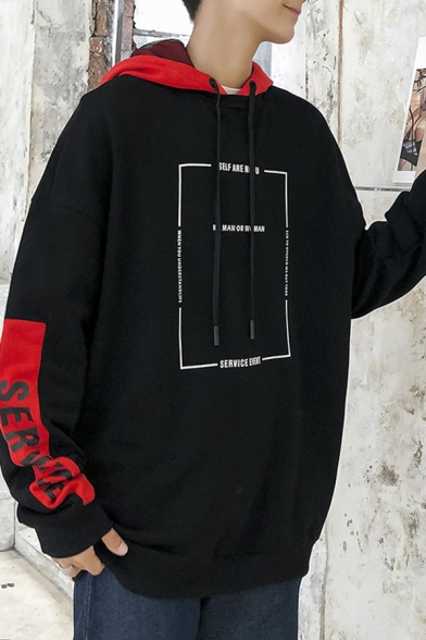 Mens Hot Fashion Letter NO MAN OR WOMAN Print Long Sleeve Colorblock Casual Cotton Drawstring  Hoodie
