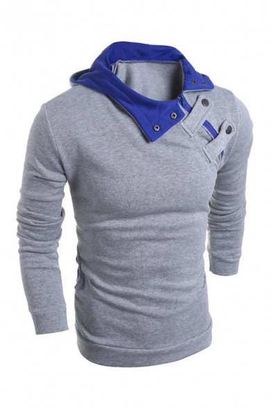 Mens Popular Slant Snap Button Long Sleeve Gray and Blue Colorblock Hooded Sweatshirt