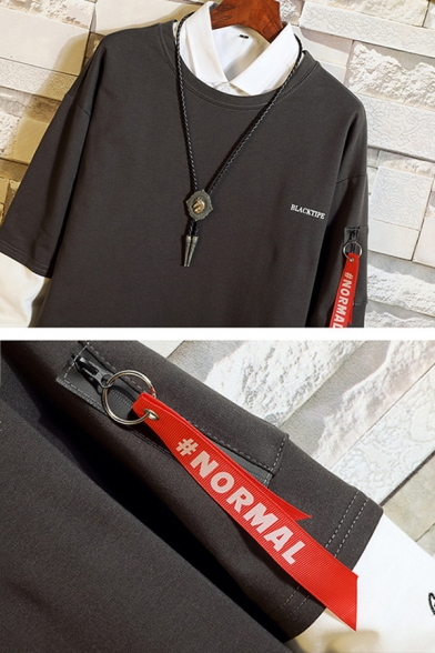 Mens Stylish Letter Printed Ribbon Zip Pocket Side Colorblocked Long Sleeve Fake Two-Piece Round Neck Casual Sweatshirt