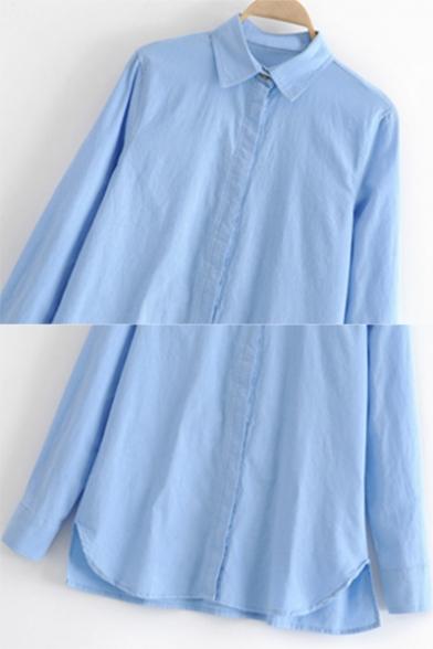 Simple Lapel Collar Single Breasted Asymmetric Hem Plain Linen Loose Shirt for Women