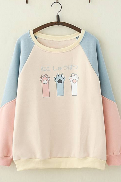 Sweet Style Contrast Long Sleeve Cat Claw Print Loose Pullover Sweatshirt for Girls