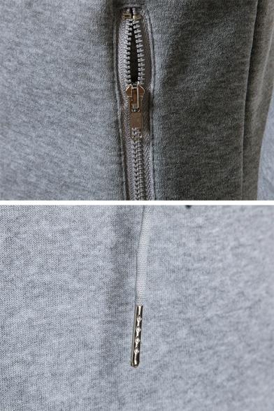 Whole Colored Long Sleeve Asymmetric Hem Side Casual Zip Up Hoodie