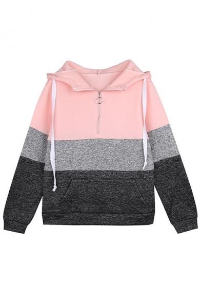 Womens Simple Color Block Stripe Half Zip Drawstring Hood Long Sleeve Casual Hoodie